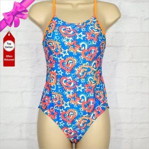 OP One Piece Swimsuit with Heart & Star Pattern..